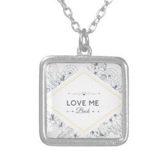 Wellcoda Love Me Back Promise Flower Life Square Pendant Necklace