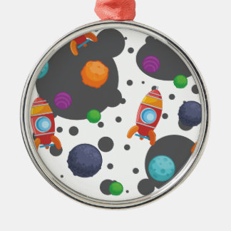 Wellcoda Meet You In Space Fun Mad Planet Metal Ornament