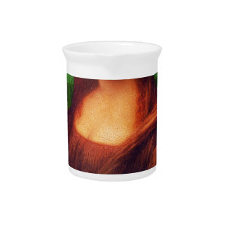 Wellcoda Mona Lisa Smile Wink Emoji Art Drink Pitcher