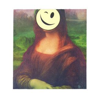 Wellcoda Mona Lisa Smile Wink Emoji Art Notepad