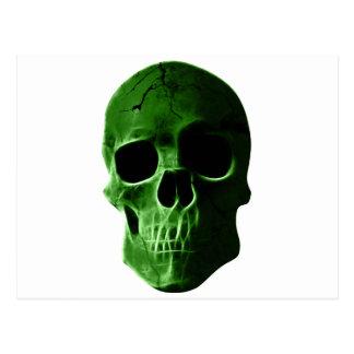 Wellcoda Neon Glow Skull Head Scary Face Postcard
