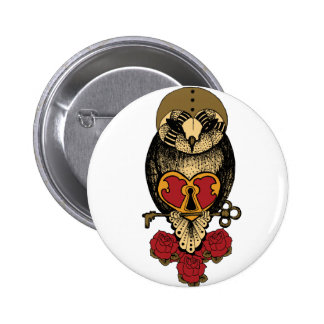 Wellcoda Old School Owl Rock Locked Heart Button