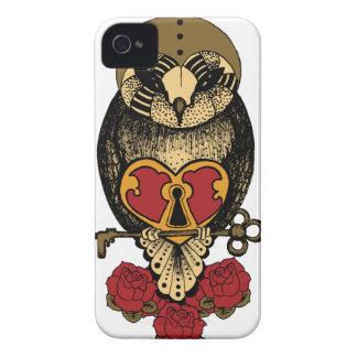 Wellcoda Old School Owl Rock Locked Heart iPhone 4 Cover