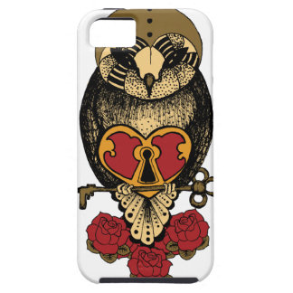 Wellcoda Old School Owl Rock Locked Heart iPhone SE/5/5s Case