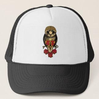 Wellcoda Old School Owl Rock Locked Heart Trucker Hat