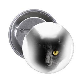 Wellcoda One Eyed Black Cat Freaky Kitten Button