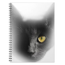 Wellcoda One Eyed Black Cat Freaky Kitten Notebook