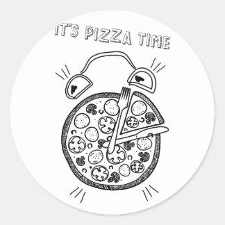 Wellcoda Pizza Time Clock Eat Funny Watch Classic Round Sticker