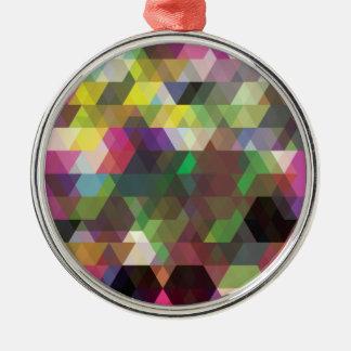 Wellcoda Polygon Colour Shape Crazy Pattern Metal Ornament