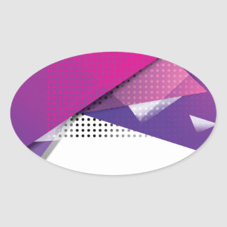 Wellcoda Purple Triangle Print Trend Set Oval Sticker