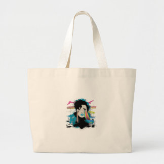 Wellcoda Rainbow Tears Lady Colour Face Large Tote Bag