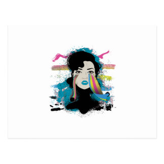 Wellcoda Rainbow Tears Lady Colour Face Postcard