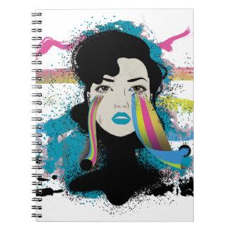 Wellcoda Rainbow Tears Lady Colour Face Spiral Notebook
