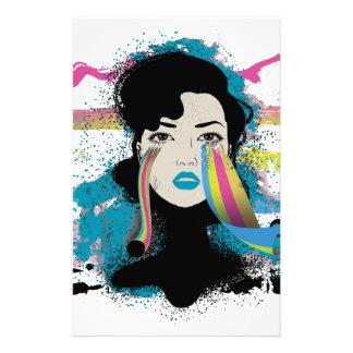 Wellcoda Rainbow Tears Lady Colour Face Stationery