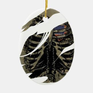 Wellcoda Rib Cage Heart USA Skeleton Love Ceramic Ornament
