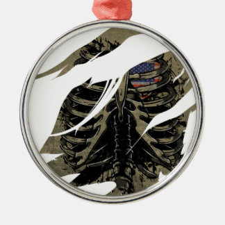 Wellcoda Rib Cage Heart USA Skeleton Love Metal Ornament