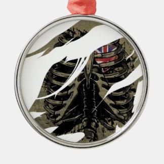 Wellcoda Rib Cage Love UK Skeleton Heart Metal Ornament