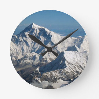 Wellcoda Rocky Mountain Range Snow Rock Round Clock