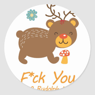 Wellcoda Rudolf Bear Animal Wild Reindeer Classic Round Sticker