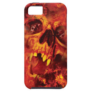 Wellcoda Scary Skull On Fire Hell Creepy iPhone SE/5/5s Case