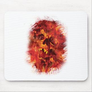 Wellcoda Scary Skull On Fire Hell Creepy Mouse Pad
