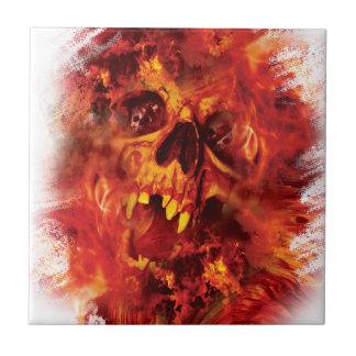 Wellcoda Scary Skull On Fire Hell Creepy Tile