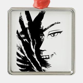 Wellcoda Scary Vampire Face Eagle Flight Metal Ornament