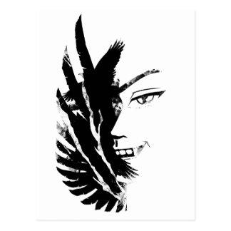 Wellcoda Scary Vampire Face Eagle Flight Postcard