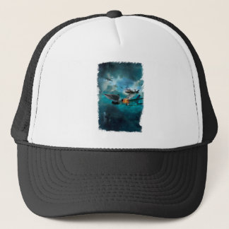 Wellcoda Shark Attack Airplane Air Combat Trucker Hat