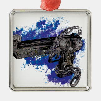 Wellcoda Skeleton Revolver Pistol Chain Metal Ornament