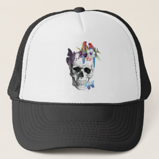 Wellcoda Skull Death Paradise Bad Tropical Trucker Hat