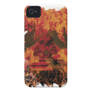 Wellcoda Skull Fire Death Tank Burning iPhone 4 Case-Mate Case