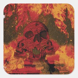 Wellcoda Skull Fire Death Tank Burning Square Sticker