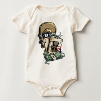 Wellcoda Skull Head Gambling Play Death Baby Bodysuit