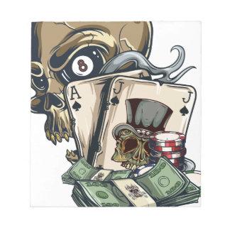 Wellcoda Skull Head Gambling Play Death Notepad