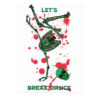 Wellcoda Skull Skeleton Bone Break Dance Postcard