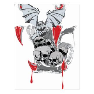 Wellcoda Skull Vampire Scary Evil Monster Postcard