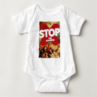 Wellcoda Stop the Madness War Troops Life Baby Bodysuit