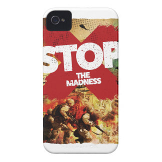 Wellcoda Stop the Madness War Troops Life iPhone 4 Case