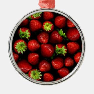 Wellcoda Strawberry Field Fruit Summer Fun Metal Ornament