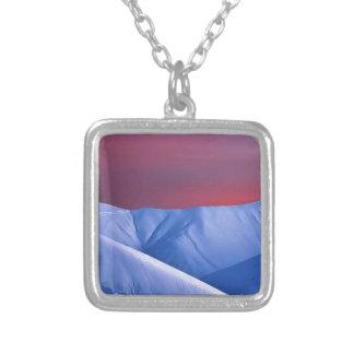 Wellcoda Sun Set Snow Mountain Ice Glacier Square Pendant Necklace