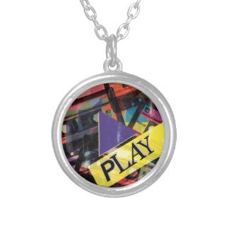 Wellcoda Tape Cassette Play Music Lover Silver Plated Necklace