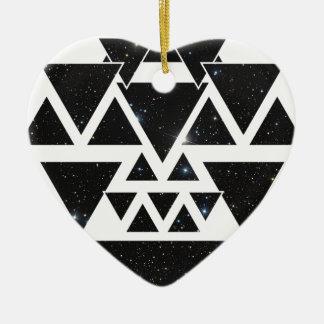 Wellcoda Triangle Star Night Sky Line Love Ceramic Ornament