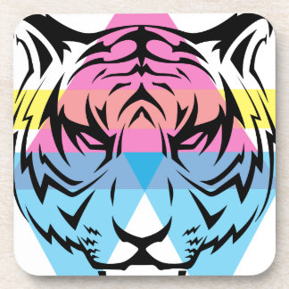 Wellcoda Triangle Tiger Face Wild Animal Beverage Coaster