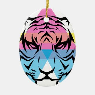 Wellcoda Triangle Tiger Face Wild Animal Ceramic Ornament