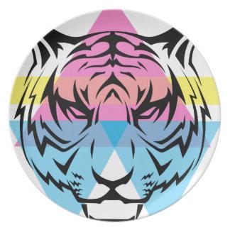 Wellcoda Triangle Tiger Face Wild Animal Plate