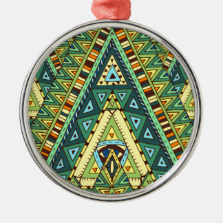 Wellcoda Tribal Style Pattern Crazy Vibe Metal Ornament