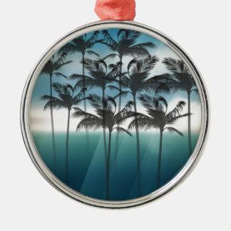 Wellcoda Tropical Palm Tree Paradise Life Metal Ornament
