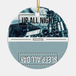 Wellcoda Up All Night DJ Mixer Sleep Day Double-Sided Ceramic Round Christmas Ornament