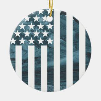 Wellcoda USA Eagle America Freedom Flag Ceramic Ornament